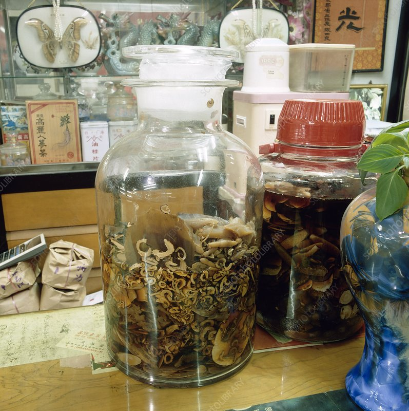 A herbal preparation in a Chinese pharmacy