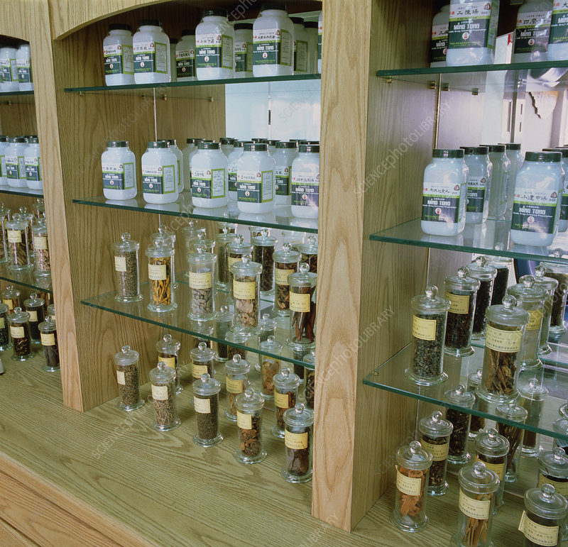 Chinese herbal medicine display at drug factory