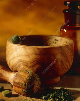 Pestle & mortar with couch grass and herbal pills