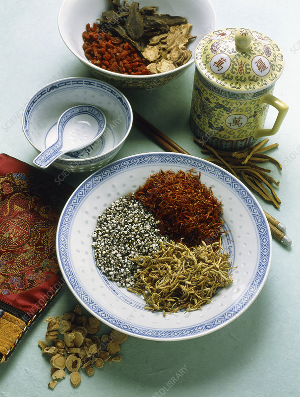 View of assorted herbs used in Chinese medicine