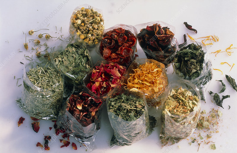 Dried herbs for use in making herbal teas