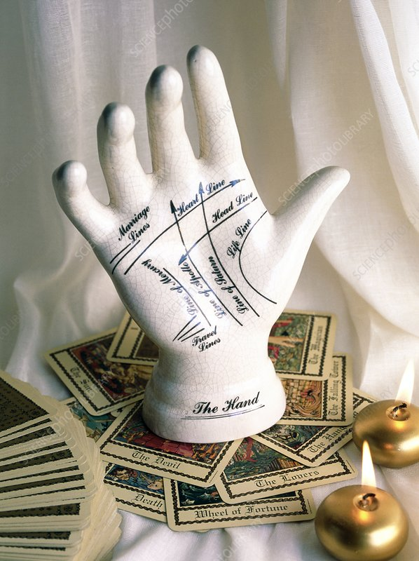 Model palmistry hand with tarot cards and candles