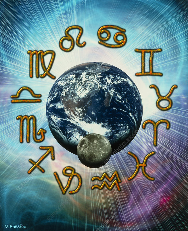 Computer artwork of the zodiac signs around Earth