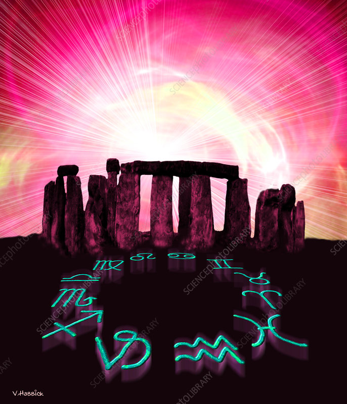 Computer artwork of Stonehenge and zodiac signs
