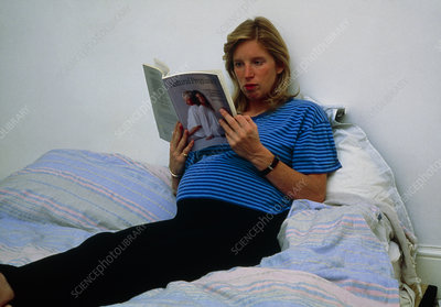 Pregnant woman relaxing.