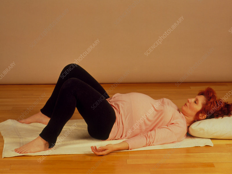 Full-term pregnant woman during prenatal exercise