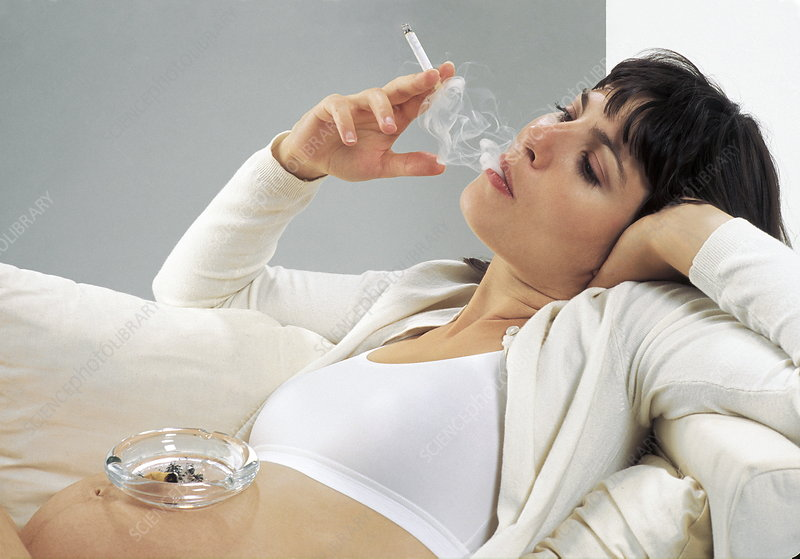 Woman smoking while pregnant