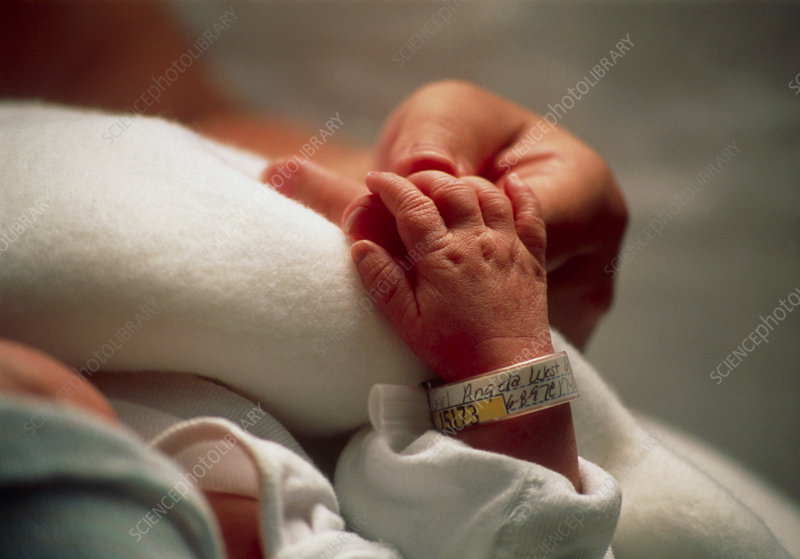 Identification tag on a newborn baby's wrist