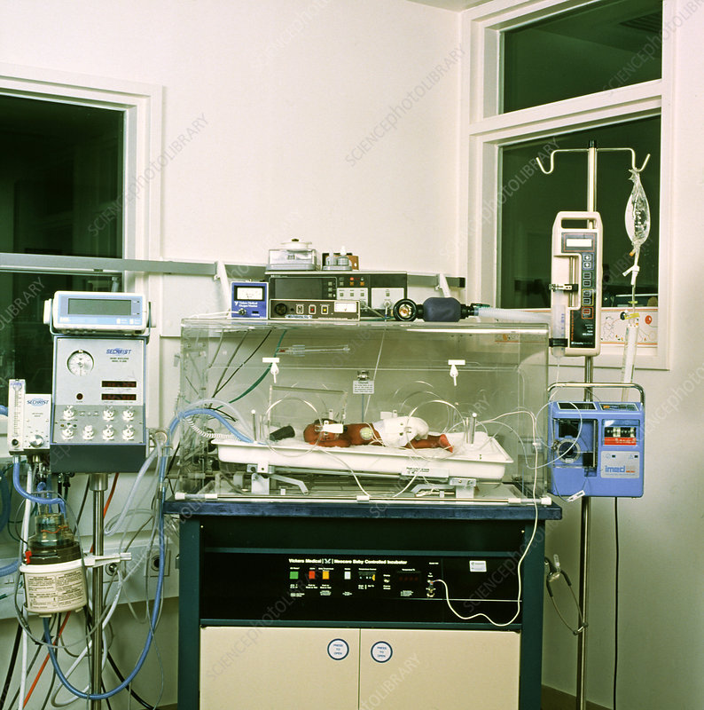 Newborn baby in an intensive care unit