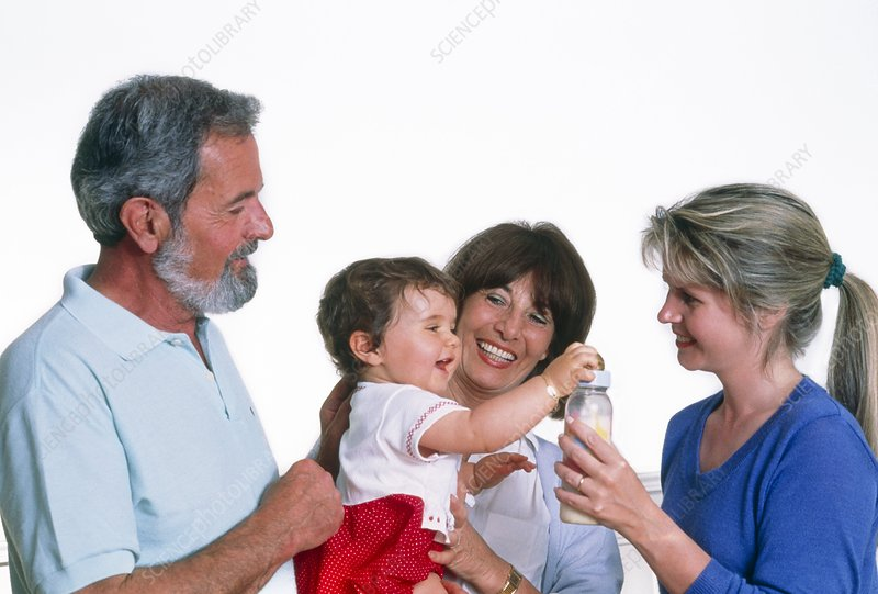 Family with grandmother holding her granddaughter