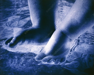 Baby's feet in water
