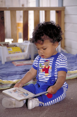 Infant looking at a book