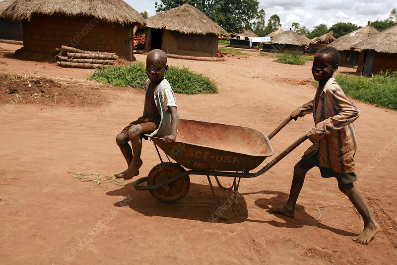 Riding a wheelbarrow