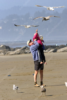 Father and Daughter Feeding Gulls