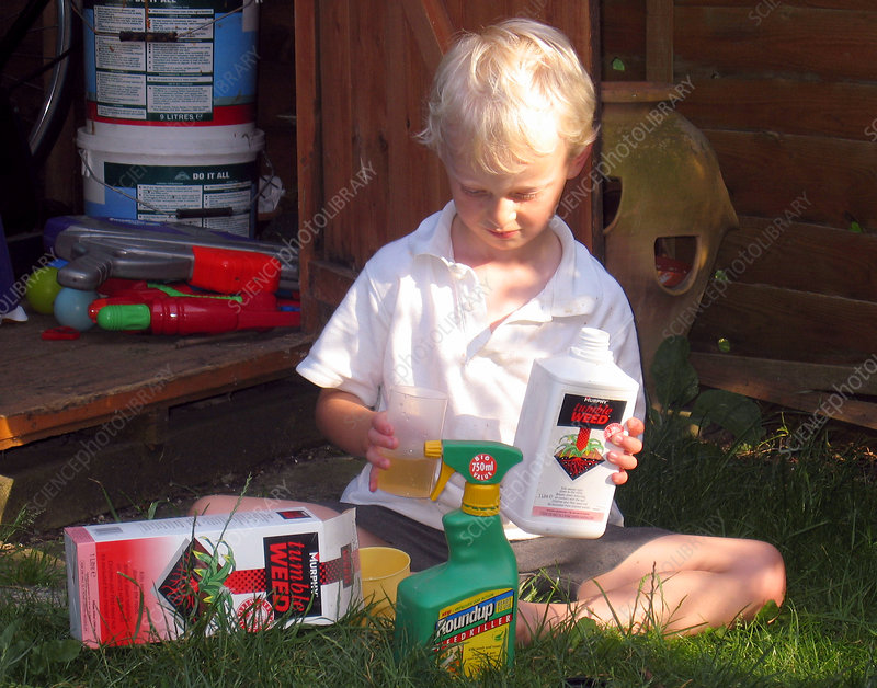 Child playing with weedkiller