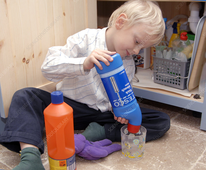 Child playing with bleach