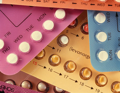 Assorted contraceptive pills in their packaging