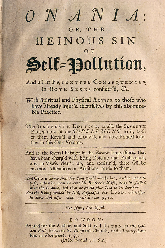 Title page of treatise on onanism (contraception)