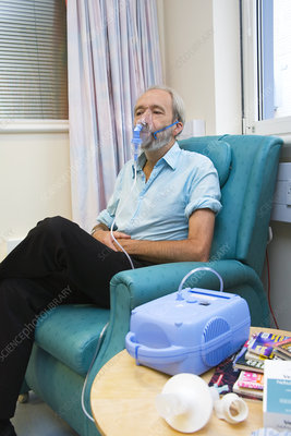 Healthy person using a nebuliser