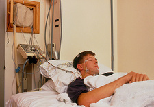 Circadian rhythm research: wired patient asleep