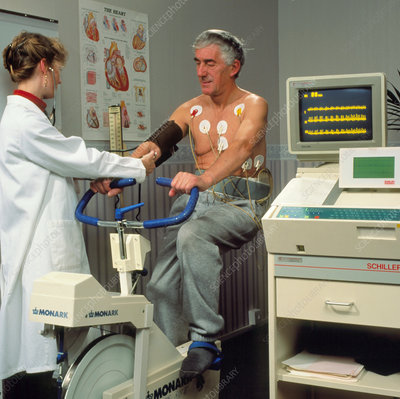 ECG stress test on male patient