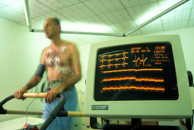 Man on a treadmill during a heart stress test