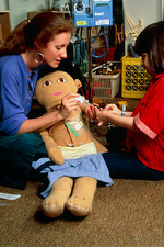 Child psychology: lessons with doll
