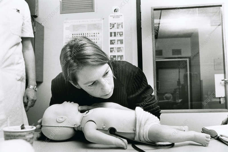 Infant CPR first aid training - Stock Image - M910/0072 ...