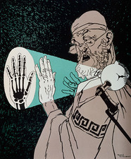 Historical cartoon of Hippocrates & X-rayed hand