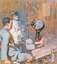 Watercolour of X-ray diagnosis during World War I