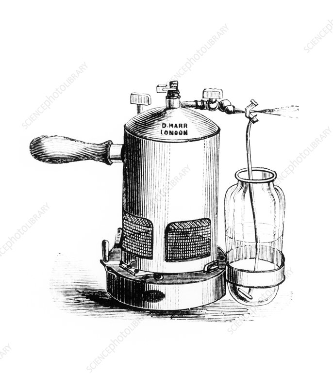 Engraving of a sprayer for antiseptic surgery