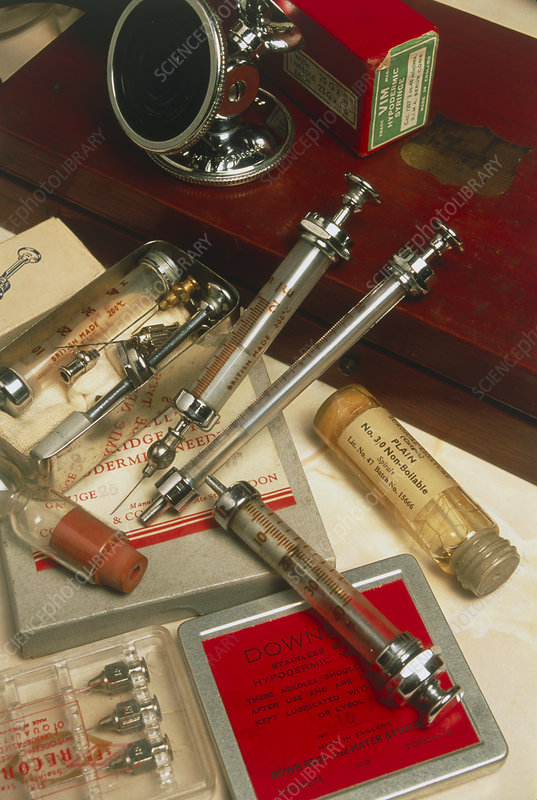 Assorted historical hypodermic needles & syringes