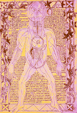 Coloured medieval drawing of human venous system