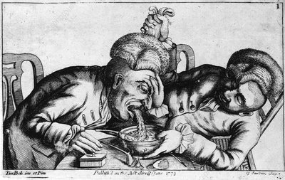 18th century engraving of two alcoholics