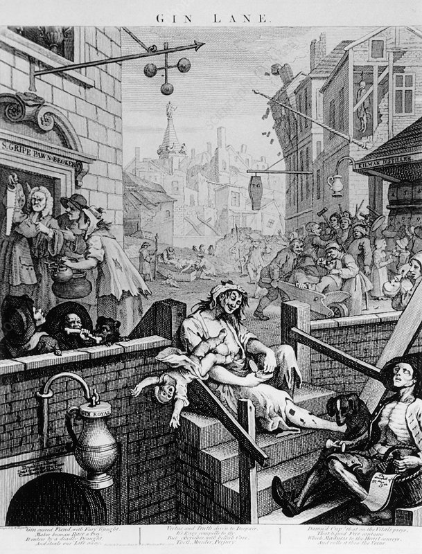 Alcoholism, 18th century engraving