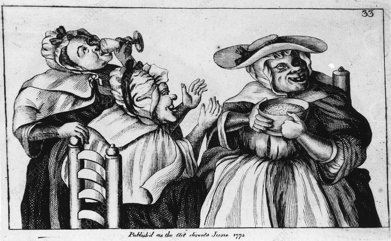 French 18th century caricature of alcoholic women