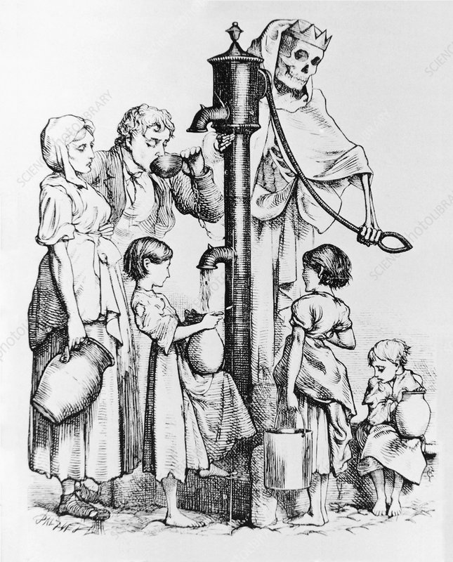 Caricature of people using a cholera-infected well