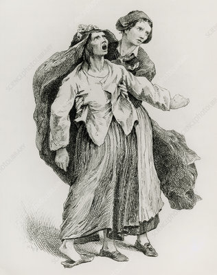 Engraving of an epilelptic woman and a nurse