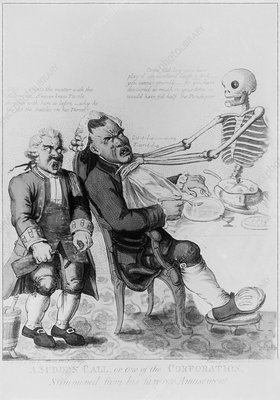 18th century engraving of man with gout.