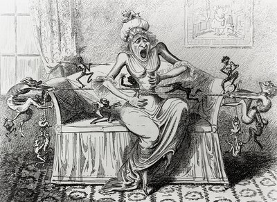 Caricature of woman tormented by indigestion.