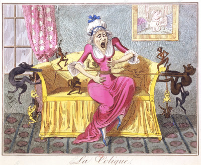 19th century caricature of a woman with colic.