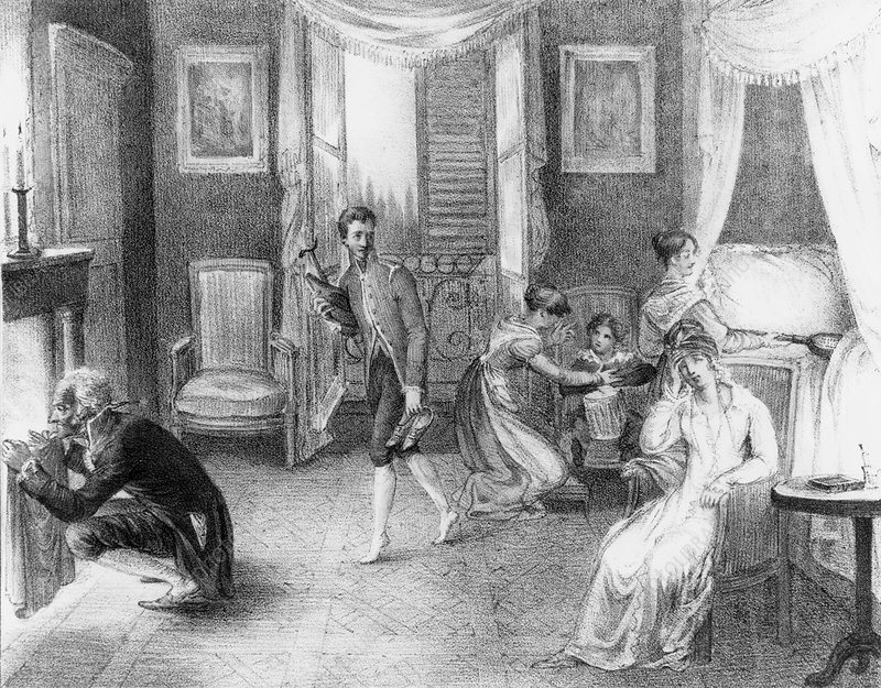 Engraving of mother with a migraine and her family