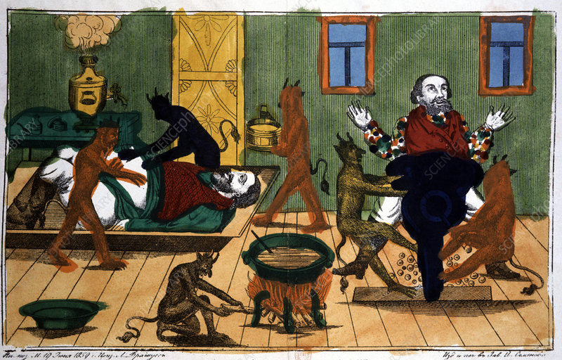 Obese man with demons, 19th century