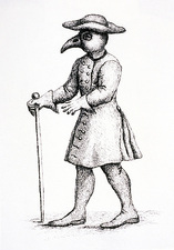 Bird-like mask on physicians during the plague