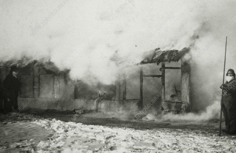 Houses being burned during plague pandemic 1890's