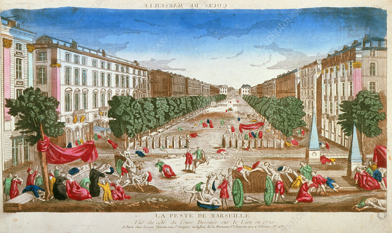 Illustration showing the plague in Marseille, 1720