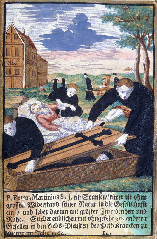 Fr Pierre Martinius nursing plague victims, 1564