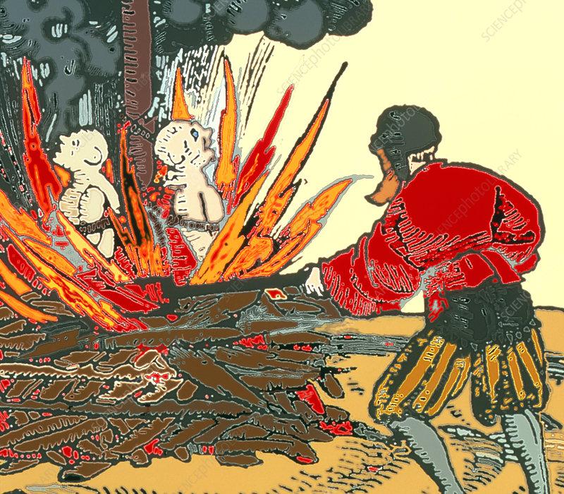 Artwork of medieval plague-spreaders being burnt