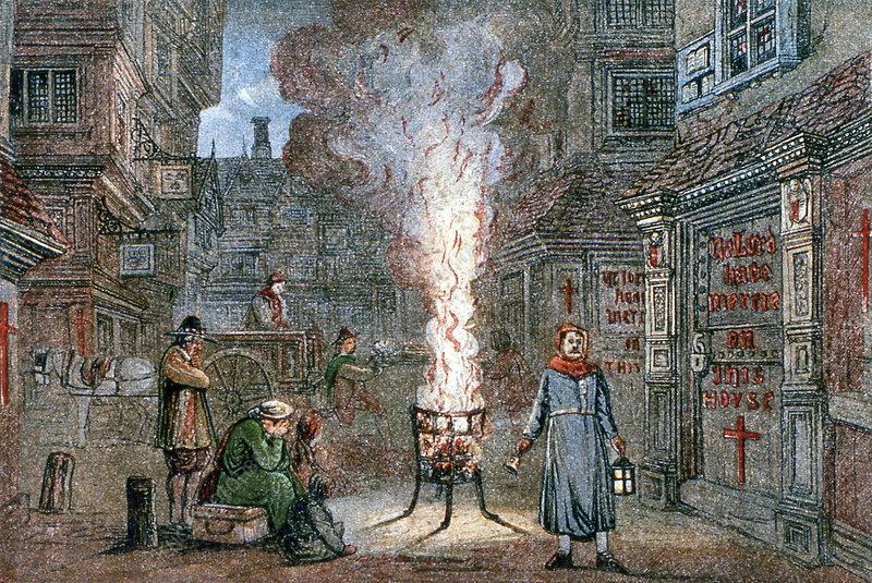Medieval plague scene
