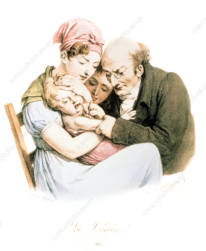 Inoculation of smallpox vaccine, illustration 1827